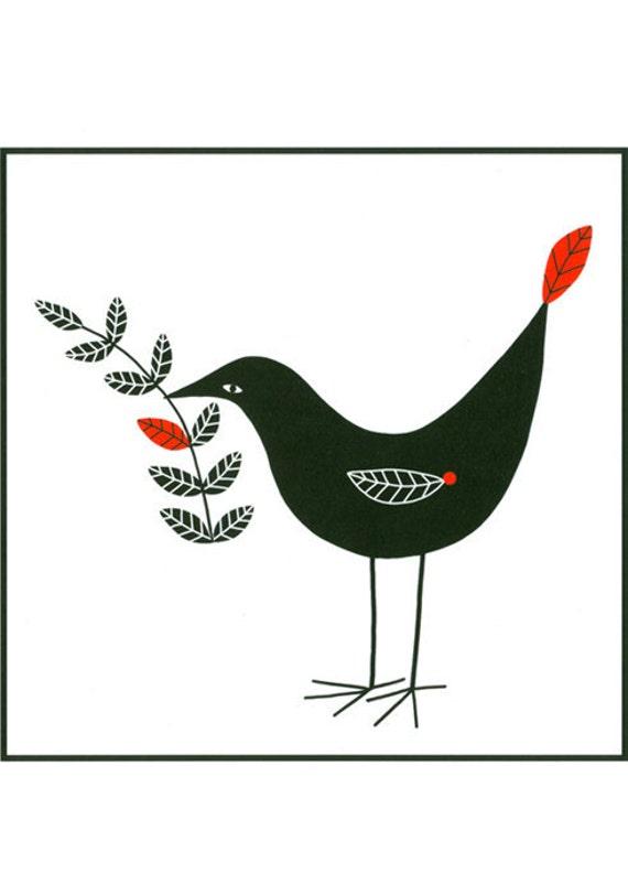 8 x 10 Graphic Black White Red Narrative Bird Illustration Print Folk Art Monochrome Drawing