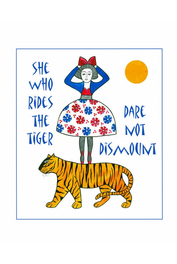 "10"" x 8"" Illustration Print Typography Quote Red Blue Yellow Woman Tiger Contemporary Art Drawing Narrative Art"