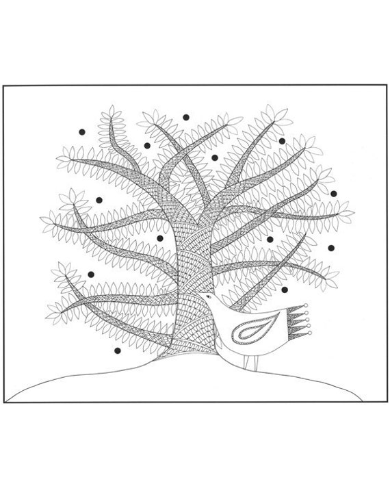 Bird illustration print, Ink drawing of bird and tree, Black and white bird art, Tree and bird drawing, White bird illustration, Bird art