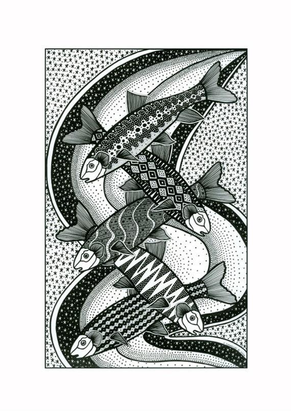 Fine art graphic design print, Fish drawing in black and white, Graphic art fish drawing, Pen and ink drawing of fish, Black And White art