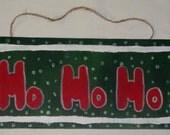Handmade Wooden HO HO HO Merry Christmas Santa Holiday Sign Wall Decoration, Home Room Decor
