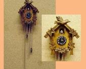 hand carved wood dollhouse miniature cuckoo clock kit