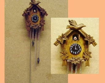 hand carved wood dollhouse miniature cuckoo clock kit