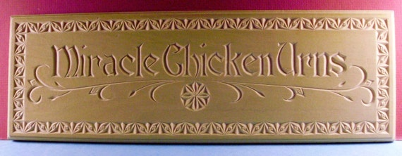 Beautiful chip-carved personalized name plate