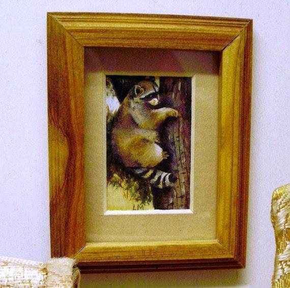 Miniature hand painted, hand framed art.