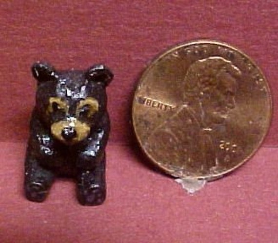 Miniature ooak black bear hand carved wood dollhouse