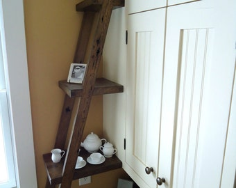 Kitchen Ladder Display Shelf - Reclaimed Barn Wood