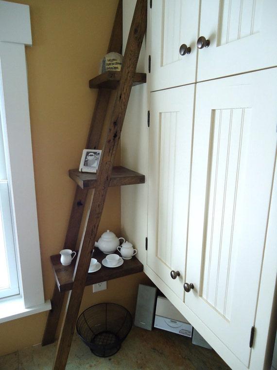 Kitchen ladder display shelf reclaimed barn wood by idwoodwork - Reclaimed wood ladder shelf ...