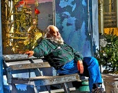 CH Rockey - Old Bearded Man Resting on Bench - Manitou Springs, Colorado 8x10 Giclee Print