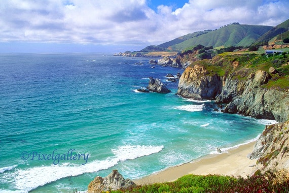 California Coast - Pacific Coast Highway -  Scenic Ocean View - 8x12 Fine Art Metallic Print