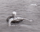 Lake Swimming in Canada- 1940s Vintage Photograph