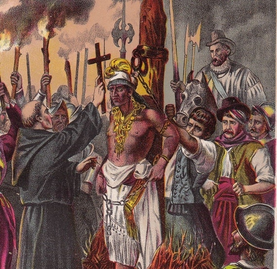 Burning of the Inca- 1889 Lithograph Print