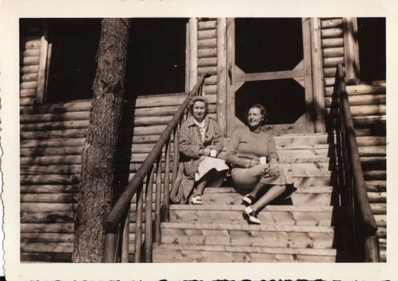 Coffee at the Cabin- 1940s Vintage Photograph