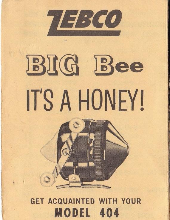 Zebco Big Bee Instruction Manual- Model 404 Fishing Reel- Vintage 1960s