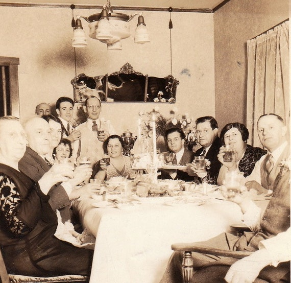 1920s Dinner Party Vintage Photograph