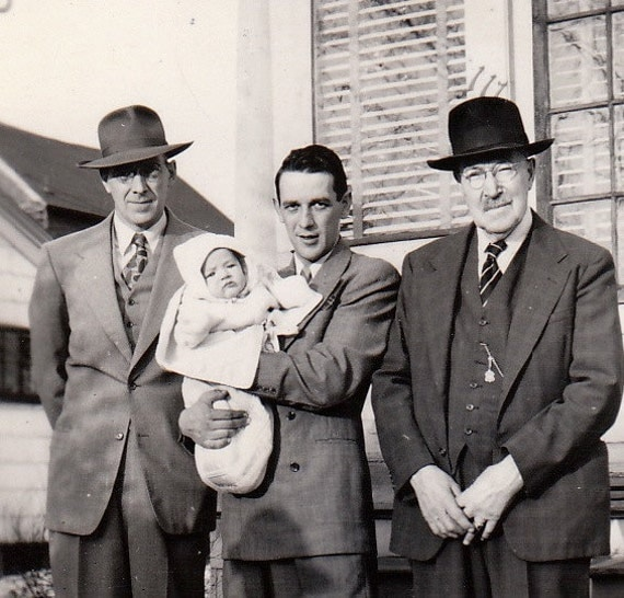 Three Men and a Baby- 1930s Vintage Photograph
