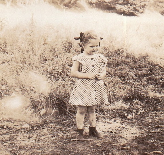Cute Little Girl with Dirty Knees- 1930s Vintage Photograph