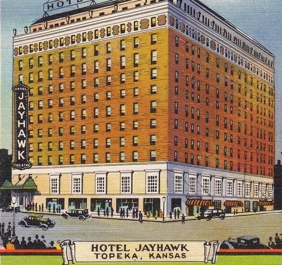 Hotel Jayhawk Topeka Kansas 1930s Vintage Postcard Unused