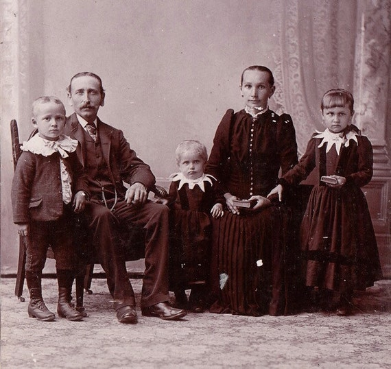 Fascinating Family- Pointy Collars- 1800s Vintage Cabinet Photograph