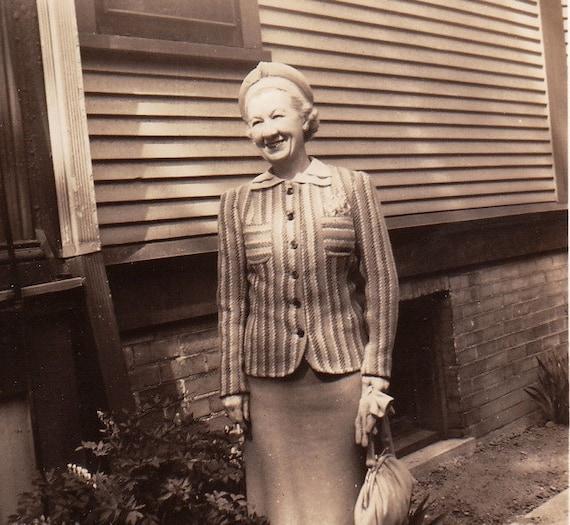 Stripes- Ladies' Blazer- Fashion- 1940s Vintage Photograph