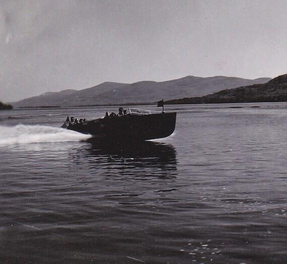 Speedboat on Lake Luzerne, N.Y.- 1950s Vintage Photograph