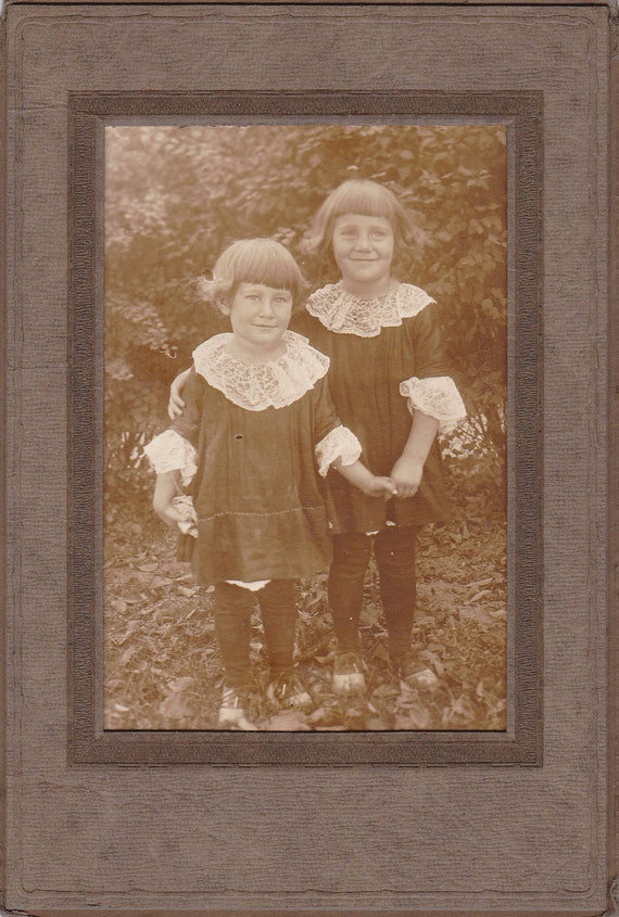 Edwardian Brothers in Lacey Collars- 1900s Vintage Photograph