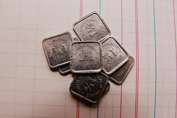 1 1/2 Retailer's Occupation Tokens- State of Illinois- SET of 8- 1930s Vintage Coins