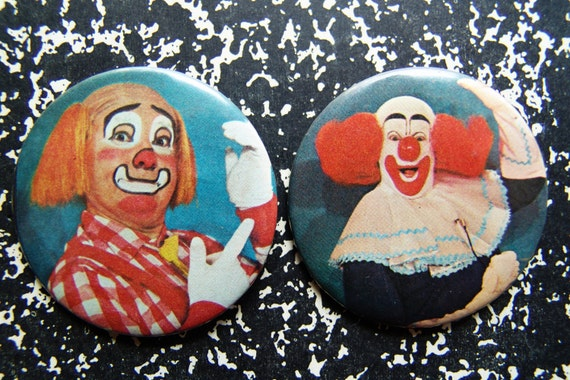 Bozo & Cooky the Clown- SET of 2- 1970s Pinback Buttons