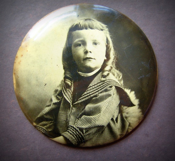 Long Ringlets- Victorian Boy- Armour Soap Works Pin-Lock- Chicago- 1898 Vintage Celluloid Photo Button