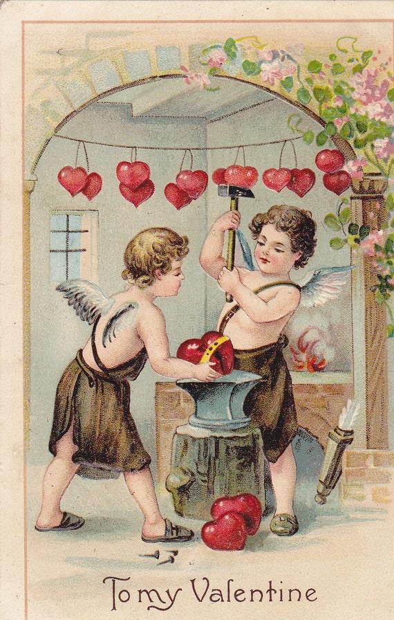 Mend Your Broken Heart- Blacksmith Cupids- 1909 Vintage German Valentine Postcard- Used