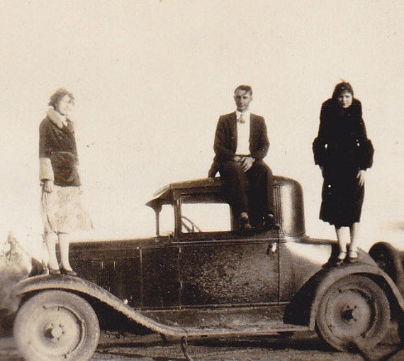 Standing on the Car Tops- 1920s Vintage Photograph