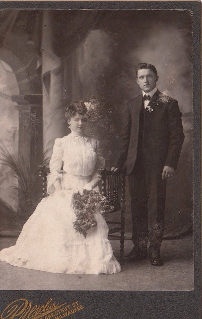 Spooky Victorian Bride and Groom 1800s Vintage Photograph