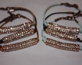 Rose Gold Pave Rhinestone Bar Bracelet on Leather