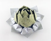 Lotus Flower in Green Mica and Silver