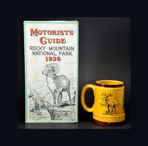1936 Motorist's Guide Rocky Mountain National Park and Vintage Mug - Very Good Condition