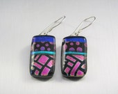 Dichroic Fused Glass Earrings - Dots and Squares on Black