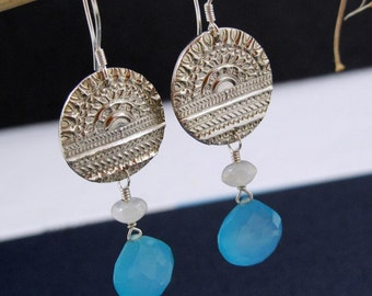Chalcedony and Fine Silver Earrings - Sunrise Over Deep Waters - Fine Silver Earrings with Sky Blue Chalcedony and Moonstone