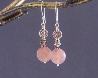Pink Gemstone Earrings - Muscovite & Crystal Earrings - Sterling Silver Earrings -  Pale Pink Dangle Earrings - Paisley Patterned Jewelry