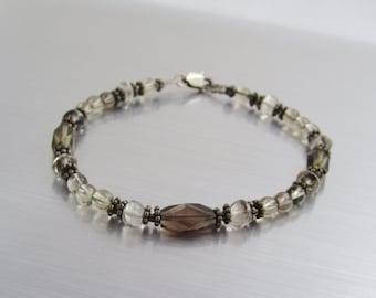 Smokey Quartz Bracelet - Brown Beaded Bracelet - Bear Quartz Bracelet - Delicate Gemstone Bracelet - Smokey Quartz and Bear Quartz Jewelry