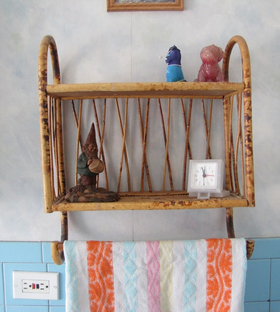 Reproduction Vintage Bath Towels: Vintage Bamboo Bathroom Accessory Shelf And By