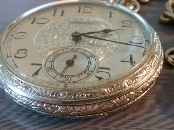 Vintage Mens Admiral Non Magnetic Pocket Watch With Chain