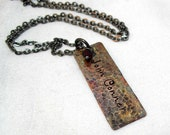 Handstamped necklace Copper Rectangle tag oxidized swarovski crystal gunmetal chain