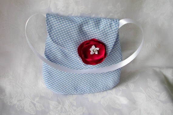 Wizard of Oz Little Girl Purse Blue and White Gingham with Red Flower