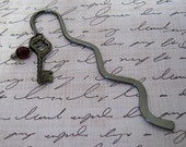 Key Bookmark in Gunmetal with AB Purple Red Crystal