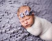 Lavender 3-Flower Headband.  Newborn Photo Prop.