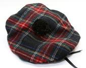 Hat  Wool Tam o' Shanter  Stewart Black Plaid