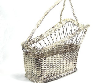 Wine Basket Silver Plated Woven Wire