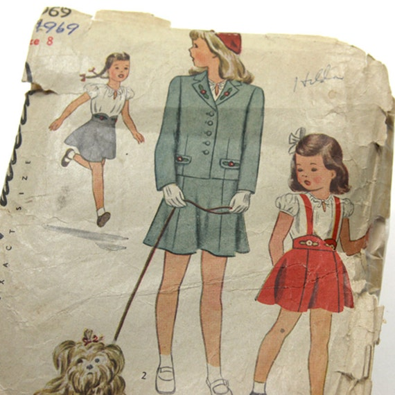 Sewing Pattern Girls Simplicity 1930 Suit, Blouse, Jumper  Complete