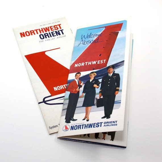 Northwest Orient Timetable 1966 with Souvenir Flight Booklet
