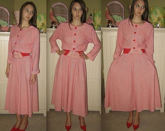 Where's Wendy ... Vintage 80s day dress / shirtwaist full skirt / belted red striped /  50s style Lucy Betty ...  S M